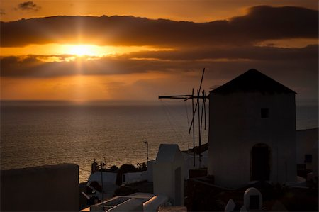 An image of a nice sunset in Santorini Stock Photo - Budget Royalty-Free & Subscription, Code: 400-04374799