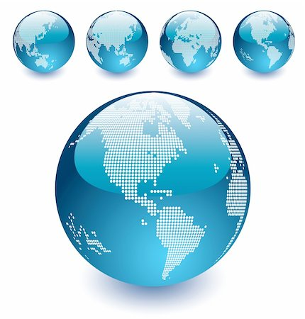Vector  illustration  of Blue Dotted Earth Globes on the white background, easy to edit Stock Photo - Budget Royalty-Free & Subscription, Code: 400-04375198
