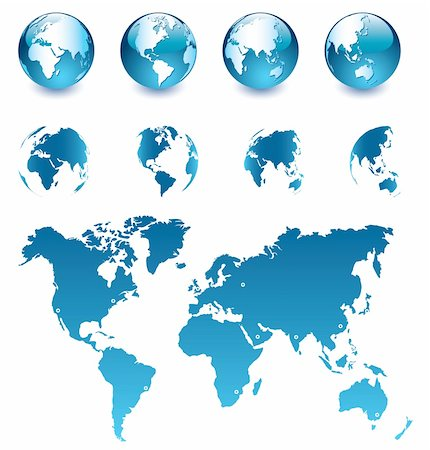 Vector illustration of 8 blue Earth globes and map of the world, easy to edit Stock Photo - Budget Royalty-Free & Subscription, Code: 400-04375206