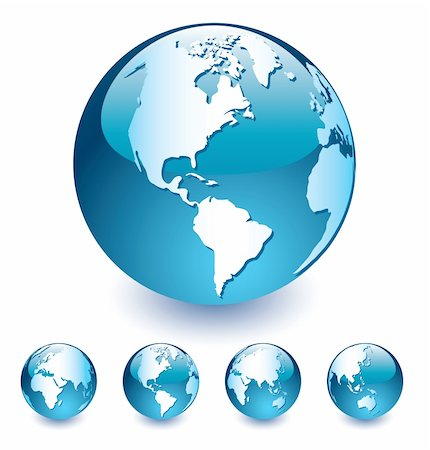 Blue   Globes of the World on the white background, easy to edit, vector  illustration Stock Photo - Budget Royalty-Free & Subscription, Code: 400-04375209