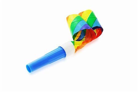 paper blower - Colorful party blower isolated on white background Stock Photo - Budget Royalty-Free & Subscription, Code: 400-04375470