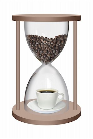sand clock - Coffee beans and a cup of coffee inside the sand watch Stock Photo - Budget Royalty-Free & Subscription, Code: 400-04376540