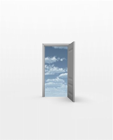 rolffimages (artist) - Door opens to Sky in white Stock Photo - Budget Royalty-Free & Subscription, Code: 400-04376755