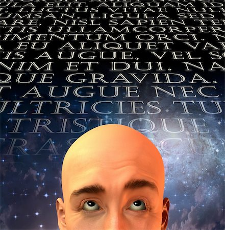 rolffimages (artist) - Mans head with text in old latin Stock Photo - Budget Royalty-Free & Subscription, Code: 400-04376761