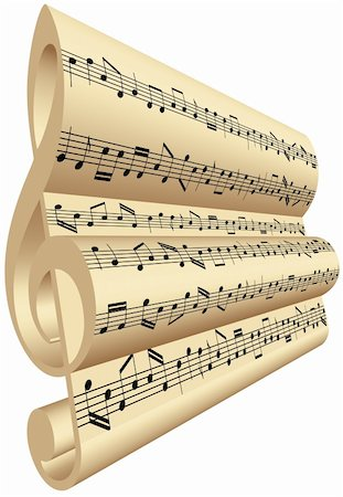 3D treble clef with notes of music Stock Photo - Budget Royalty-Free & Subscription, Code: 400-04376996