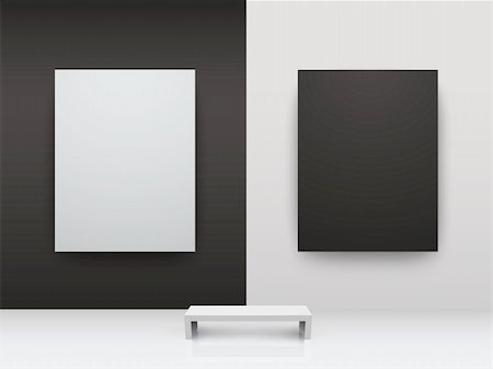 Dark and light gallery Interior with empty frames on wall Stock Photo - Budget Royalty-Free & Subscription, Code: 400-04378573