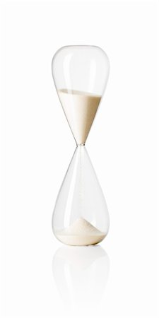 sand clock - Hourglass isolated on white reflective background. Stock Photo - Budget Royalty-Free & Subscription, Code: 400-04379658