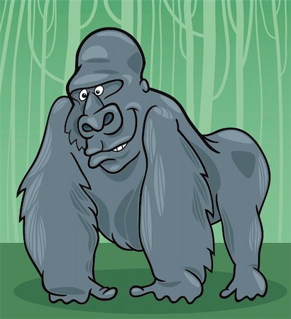 smiling chimpanzee - cartoon illustration of funny silver gorilla Stock Photo - Budget Royalty-Free & Subscription, Code: 400-04379796