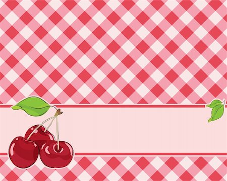 pzromashka (artist) - checkered background in red tones decorated with cherries. Vector Stock Photo - Budget Royalty-Free & Subscription, Code: 400-04379790