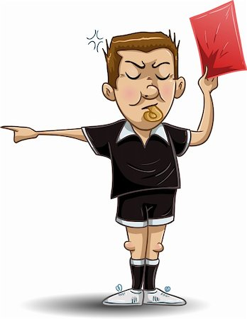 illustration of a soccer referee whistles, holds out a red card and points to the side. Stock Photo - Budget Royalty-Free & Subscription, Code: 400-04379891