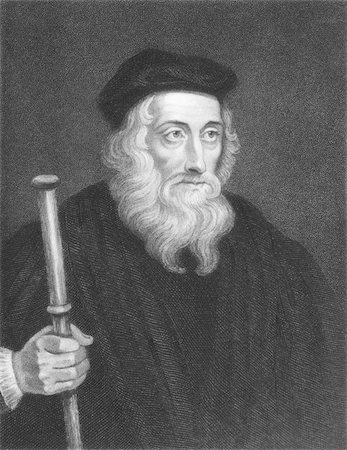 John Wiclif (1320s-1384) on engraving from the 1800s. English theologian, lay preacher, translator, reformist and university teacher. Engraved by J. Pofselwhite and published in London by Charles Knight, Ludgate Street. Stock Photo - Budget Royalty-Free & Subscription, Code: 400-04370233