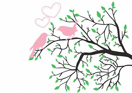 plant leaf paintings graphic - Vector illustration of spring love of birds Stock Photo - Budget Royalty-Free & Subscription, Code: 400-04370816