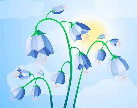 simsearch:400-04367215,k - Vector illustration of blue bells on the background of sky Stock Photo - Budget Royalty-Free & Subscription, Code: 400-04370850