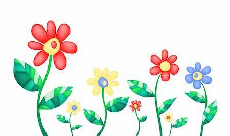 Vector illustration of colorful summer flowers Stock Photo - Budget Royalty-Free & Subscription, Code: 400-04370852