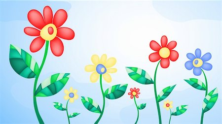 simsearch:400-04367215,k - Vector illustration of several flowers on the background of sky Stock Photo - Budget Royalty-Free & Subscription, Code: 400-04370865