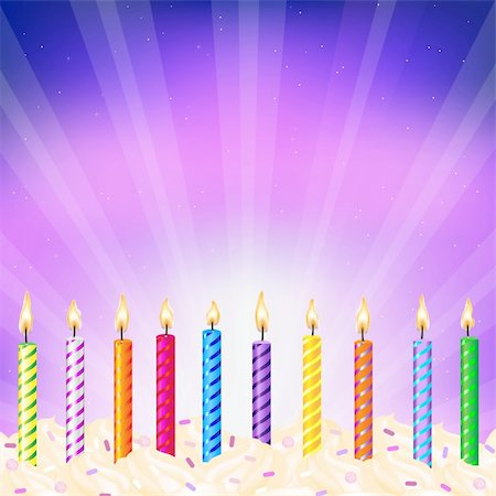 Birthday Candles, Vector Illustration Stock Photo - Budget Royalty-Free & Subscription, Code: 400-04370974