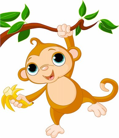 Cute baby monkey on a tree holding banana Stock Photo - Budget Royalty-Free & Subscription, Code: 400-04371170