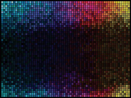Multicolor abstract lights disco background. Square pixel mosaic vector Stock Photo - Budget Royalty-Free & Subscription, Code: 400-04371198