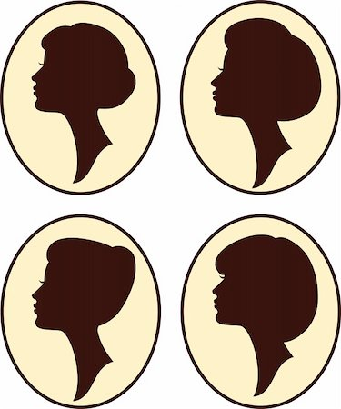 vector beautiful women and girl silhouettes with different hairstyle, set Stock Photo - Budget Royalty-Free & Subscription, Code: 400-04371199