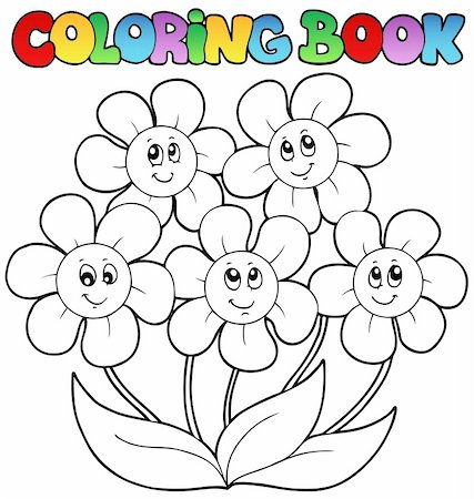 flower clipart paint - Coloring book with five flowers - vector illustration. Stock Photo - Budget Royalty-Free & Subscription, Code: 400-04372758
