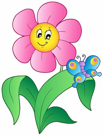 Cartoon flower with butterfly - vector illustration. Stock Photo - Budget Royalty-Free & Subscription, Code: 400-04372751