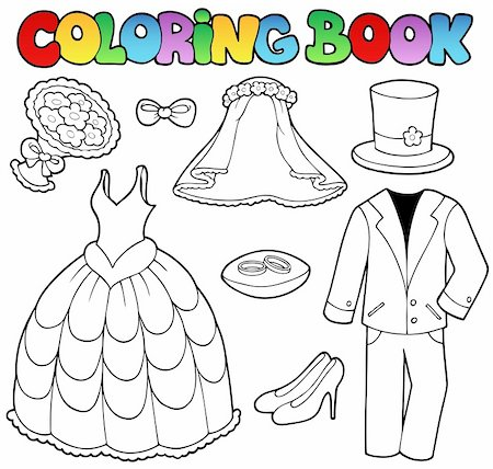 Coloring book with wedding clothes - vector illustration. Stock Photo - Budget Royalty-Free & Subscription, Code: 400-04372769