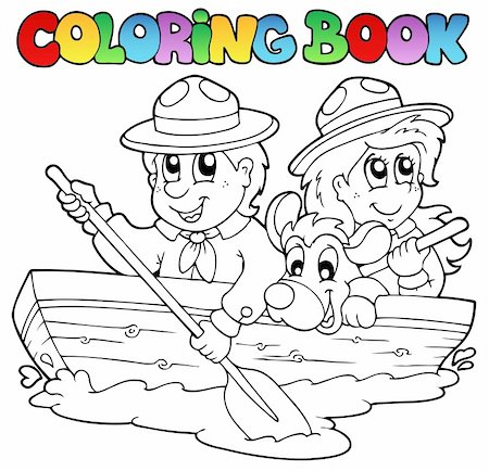 Coloring book with scouts in boat - vector illustration. Stock Photo - Budget Royalty-Free & Subscription, Code: 400-04372762