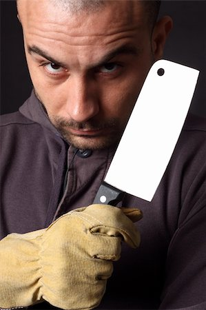 Portrait of scary man with cleaver Stock Photo - Budget Royalty-Free & Subscription, Code: 400-04372990