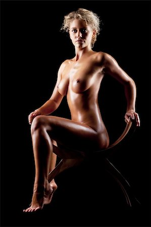 young blonde naked women on black background Stock Photo - Budget Royalty-Free & Subscription, Code: 400-04373162