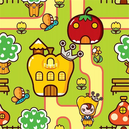 Illustration of seamless pattern with fruity dreamland. Stock Photo - Budget Royalty-Free & Subscription, Code: 400-04373234
