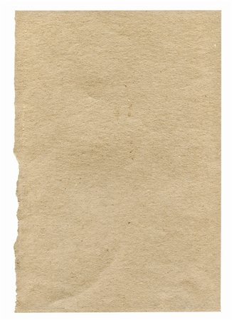 piece of rough very paper isolated on white background, one edge is frayed Stock Photo - Budget Royalty-Free & Subscription, Code: 400-04384046