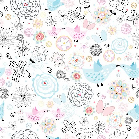 seamless floral pattern with lovers birds and butterflies on a white background graphics Stock Photo - Budget Royalty-Free & Subscription, Code: 400-04385238