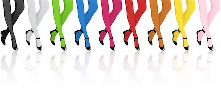 stocking feet - Vector - Girls Legs with Colorful Stockings Stock Photo - Budget Royalty-Free & Subscription, Code: 400-04385434