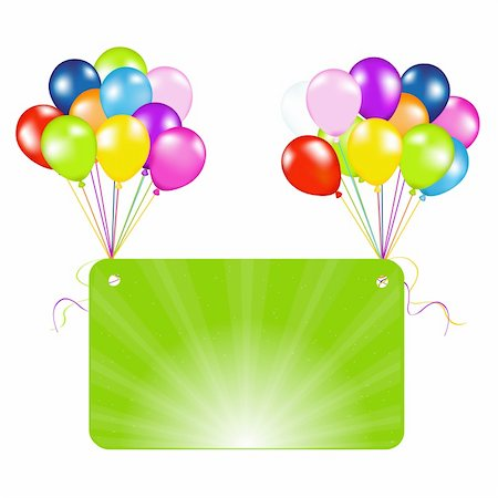 Birthday Card With Balloons, Vector Illustration Stock Photo - Budget Royalty-Free & Subscription, Code: 400-04385688