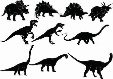 Dinosaurs silhouettes collection - vector Stock Photo - Budget Royalty-Free & Subscription, Code: 400-04385983