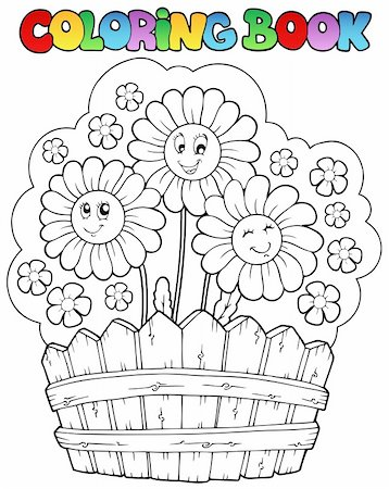 flower clipart paint - Coloring book with daisies - vector illustration. Stock Photo - Budget Royalty-Free & Subscription, Code: 400-04387264