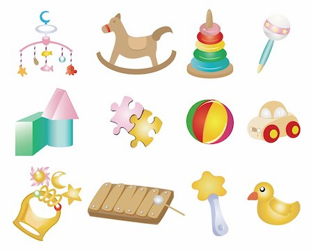 cartoon baby toy icon set Stock Photo - Budget Royalty-Free & Subscription, Code: 400-04387782