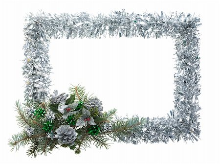 simsearch:400-05749231,k - Christmas composition in form of silver frame over white background Stock Photo - Budget Royalty-Free & Subscription, Code: 400-04387988