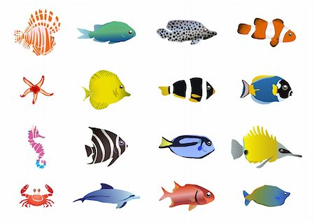 pressmaster - Vector illustration of set of sea creatures Stock Photo - Budget Royalty-Free & Subscription, Code: 400-04388143