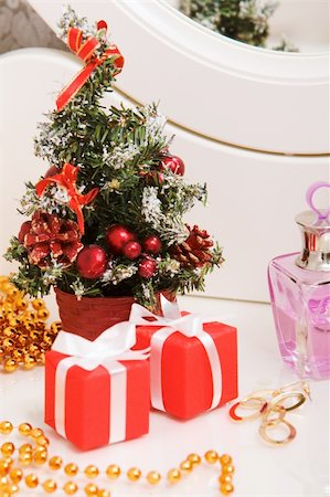 simsearch:400-05749231,k - Christmas composition on lady toiletries table Stock Photo - Budget Royalty-Free & Subscription, Code: 400-04388236