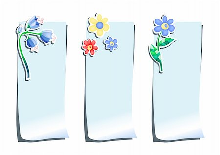 simsearch:400-04367215,k - Set of blue stickers with flowers, vector illustration Stock Photo - Budget Royalty-Free & Subscription, Code: 400-04388255