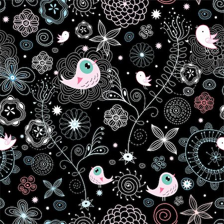 pretty pink star white background - seamless natural light pattern with birds on a black background with stars Stock Photo - Budget Royalty-Free & Subscription, Code: 400-04388446