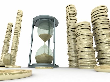 sand clock - 3D illustration of a sand clock with high stack of coins Stock Photo - Budget Royalty-Free & Subscription, Code: 400-04388625
