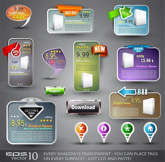 Set of Various Design Elements for Web or Blog Templates Stock Photo - Royalty-Free, Artist: DavidArts, Image code: 400-04388824