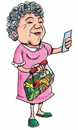 Cartoon of old lady shopping with her shopping list. Isolated on white Stock Photo - Budget Royalty-Free & Subscription, Code: 400-04389177