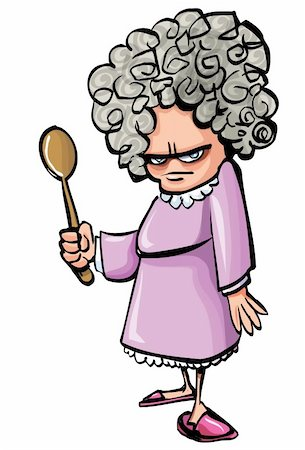 Cartoon Angry old woman with a wooden spoon. Isolated Stock Photo - Budget Royalty-Free & Subscription, Code: 400-04389207