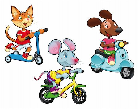 sports scooters - Animals on vehicles. Funny cartoon and vector isolated characters. Stock Photo - Budget Royalty-Free & Subscription, Code: 400-04389271