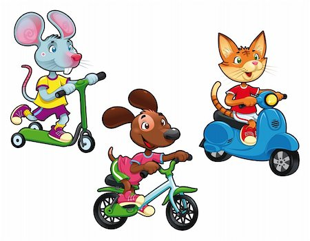 sports scooters - Animals on vehicles. Funny cartoon and vector isolated characters. Stock Photo - Budget Royalty-Free & Subscription, Code: 400-04389272
