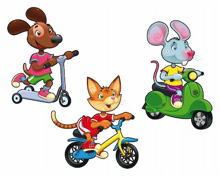 sports scooters - Animals on vehicles. Funny cartoon and vector isolated characters. Stock Photo - Budget Royalty-Free & Subscription, Code: 400-04389273