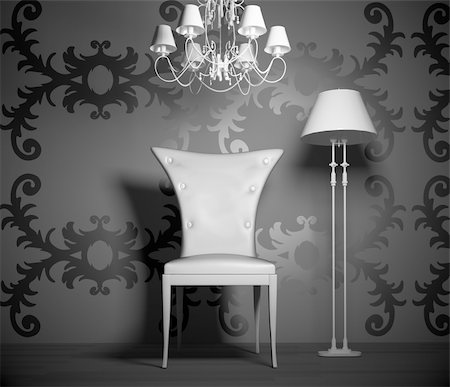 3D interior scene with vintage chair and lamp. Stock Photo - Budget Royalty-Free & Subscription, Code: 400-04389610